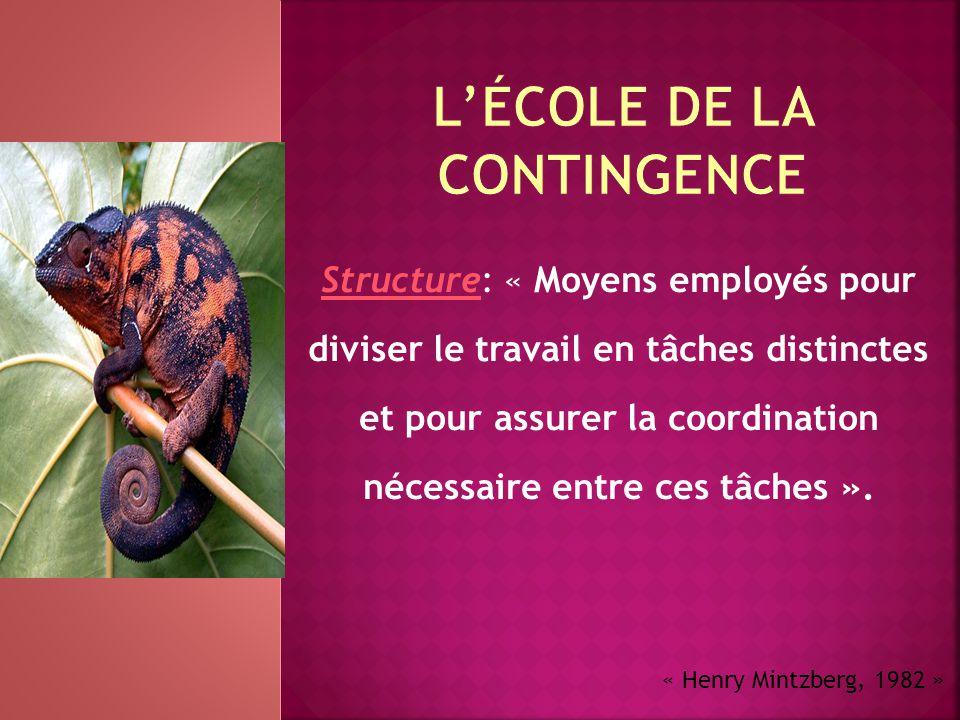 Structure: « Moyens employés pour diviser le travail en tâches distinctes et pour assurer la coordination nécessaire entre ces tâches ». « Henry Mintz