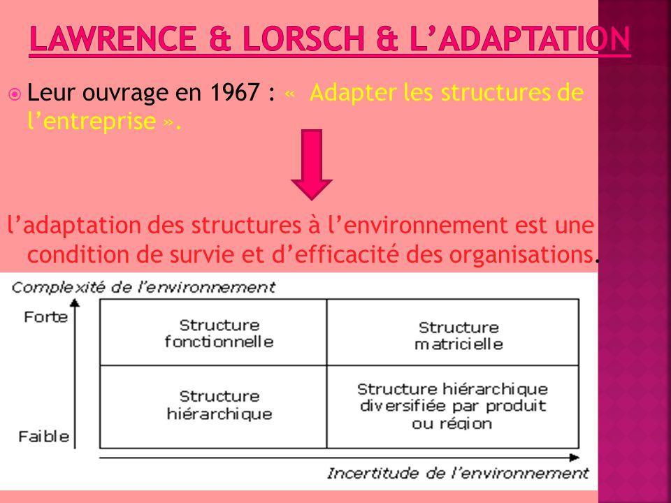  Leur ouvrage en 1967 : « Adapter les structures de l'entreprise ». l'adaptation des structures à l'environnement est une condition de survie et d'ef