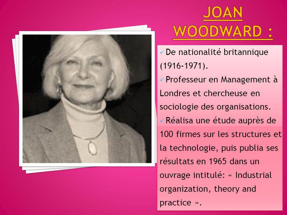 De nationalité britannique (1916-1971). Professeur en Management à Londres et chercheuse en sociologie des organisations. Réalisa une étude auprès de