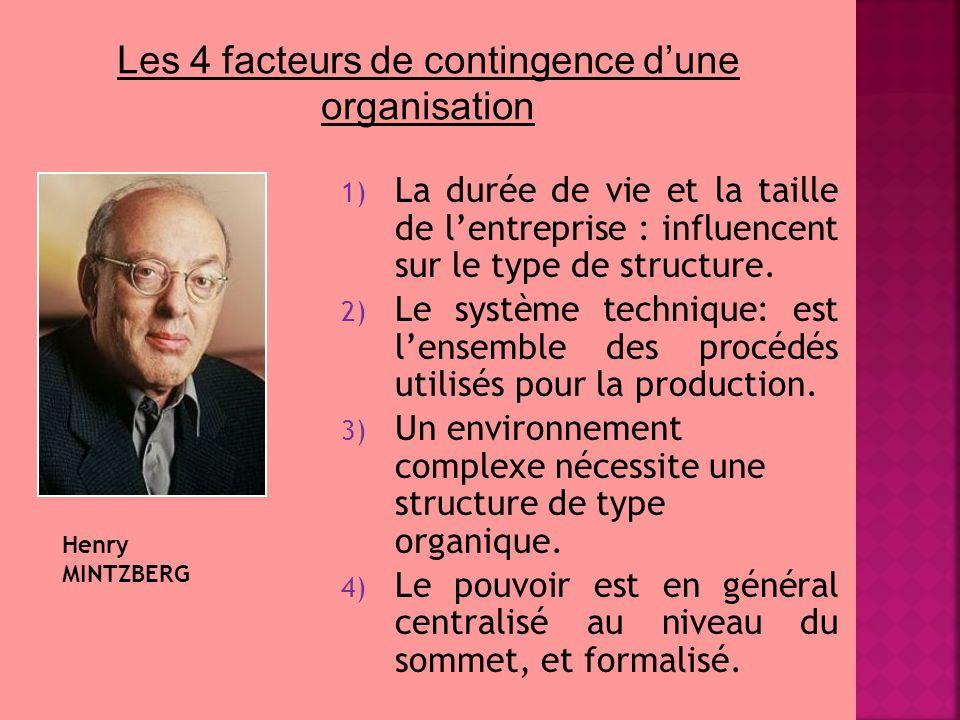 1) La durée de vie et la taille de l'entreprise : influencent sur le type de structure. 2) Le système technique: est l'ensemble des procédés utilisés