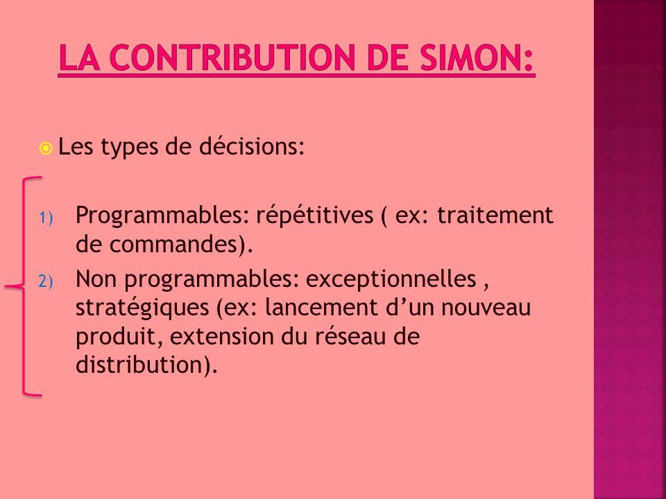  Les types de décisions: 1) Programmables: répétitives ( ex: traitement de commandes). 2) Non programmables: exceptionnelles, stratégiques (ex: lance