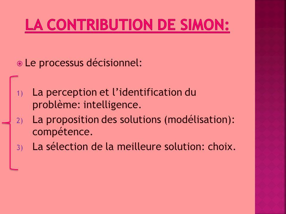  Le processus décisionnel: 1) La perception et l'identification du problème: intelligence. 2) La proposition des solutions (modélisation): compétence