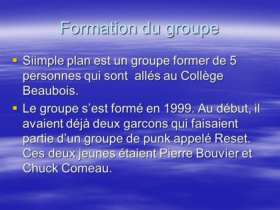 Formation du groupe SSSSiimple plan est un groupe former de 5 personnes qui sont allés au Collège Beaubois.