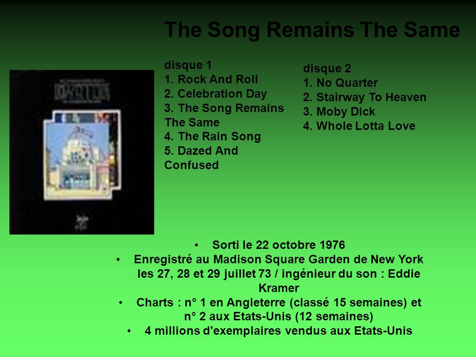 The Song Remains The Same disque 1 1. Rock And Roll 2.