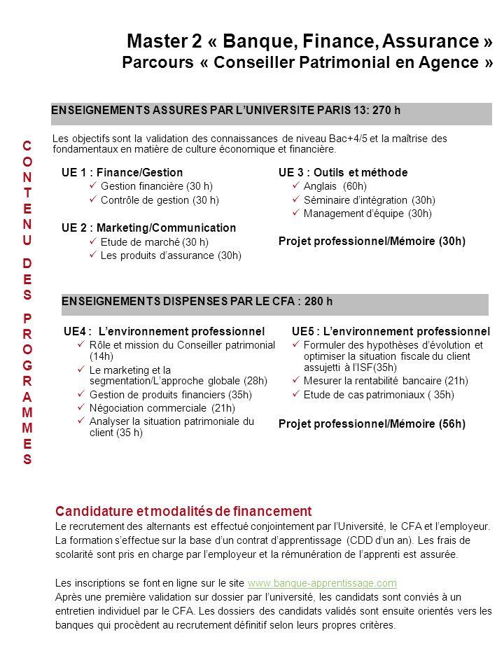 ENSEIGNEMENTS ASSURES PAR L'UNIVERSITE PARIS 13: 270 h UE 1 : Finance/Gestion Gestion financière (30 h) Contrôle de gestion (30 h) UE 2 : Marketing/Co