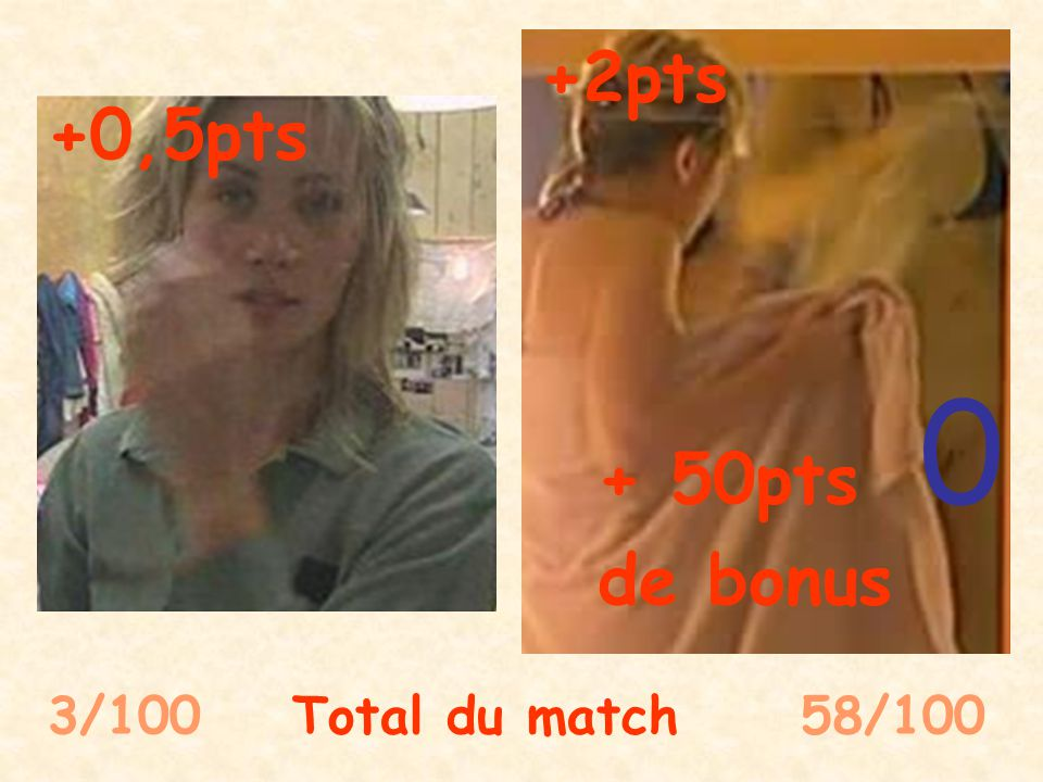3/100 Total du match 58/100 +0,5pts +2pts + 50pts 0 de bonus
