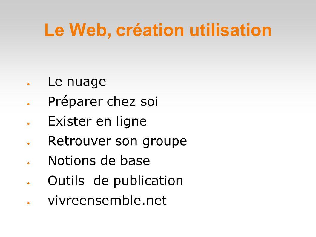 Le Web, création utilisation  Le nuage  Préparer chez soi  Exister en ligne  Retrouver son groupe  Notions de base  Outils de publication  vivreensemble.net