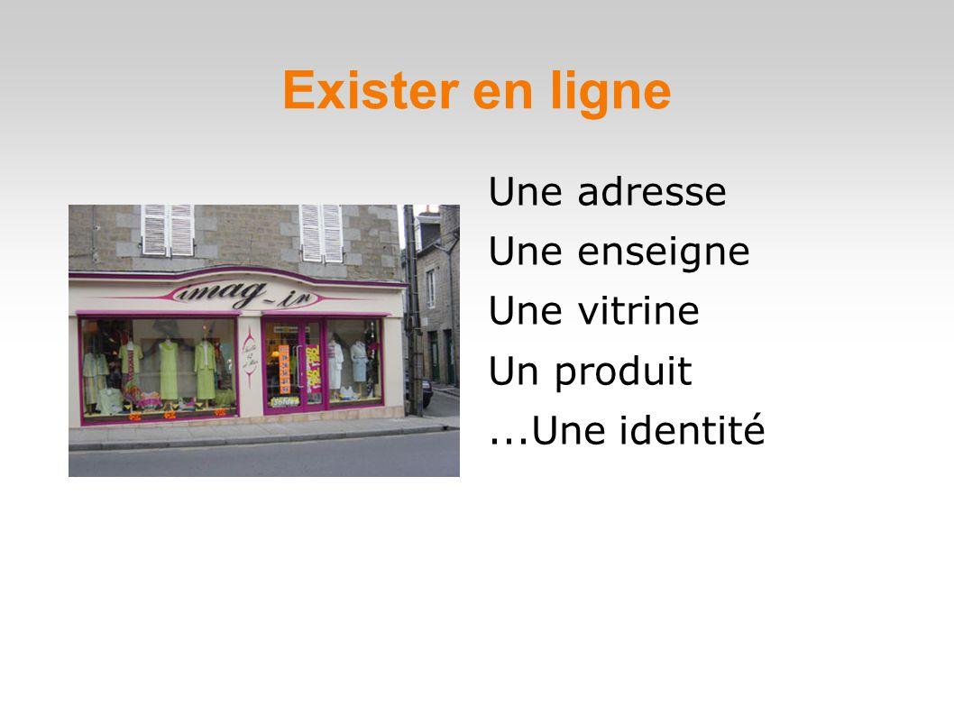 Exister en ligne Une adresse Une enseigne Une vitrine Un produit...Une identité