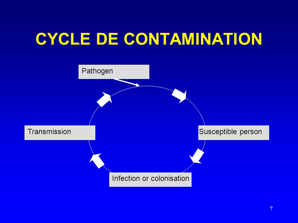 7 CYCLE DE CONTAMINATION Susceptible person Infection or colonisation Transmission Pathogen