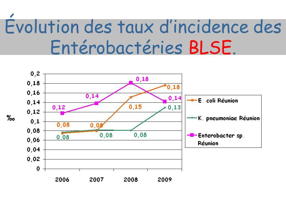 Évolution des taux d'incidence des Entérobactéries BLSE. ‰