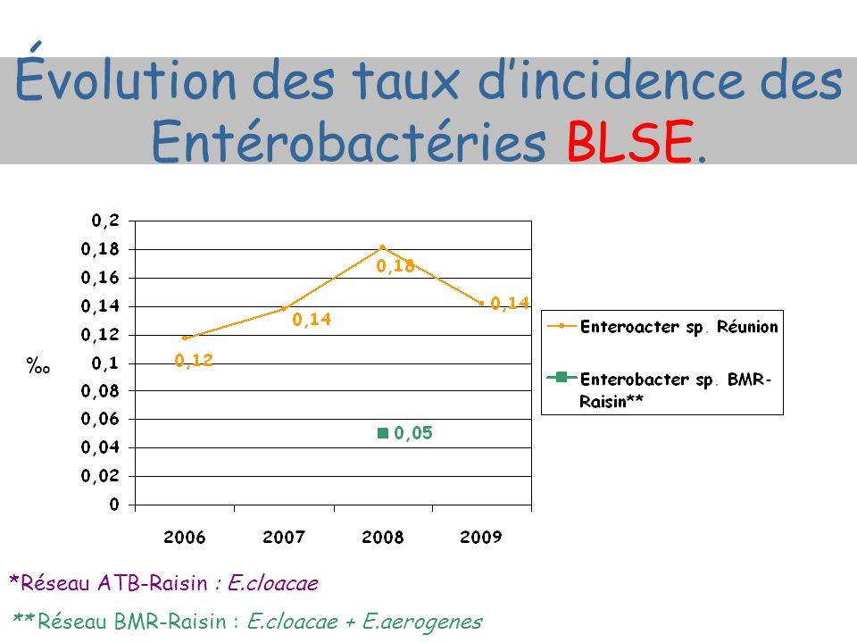 *Réseau ATB-Raisin : E.cloacae ** Réseau BMR-Raisin : E.cloacae + E.aerogenes ‰