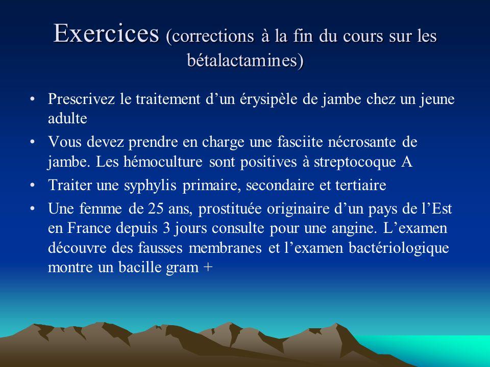 Exercices (corrections à la fin du cours sur les bétalactamines) Prescrivez le traitement d'un érysipèle de jambe chez un jeune adulte Vous devez pren