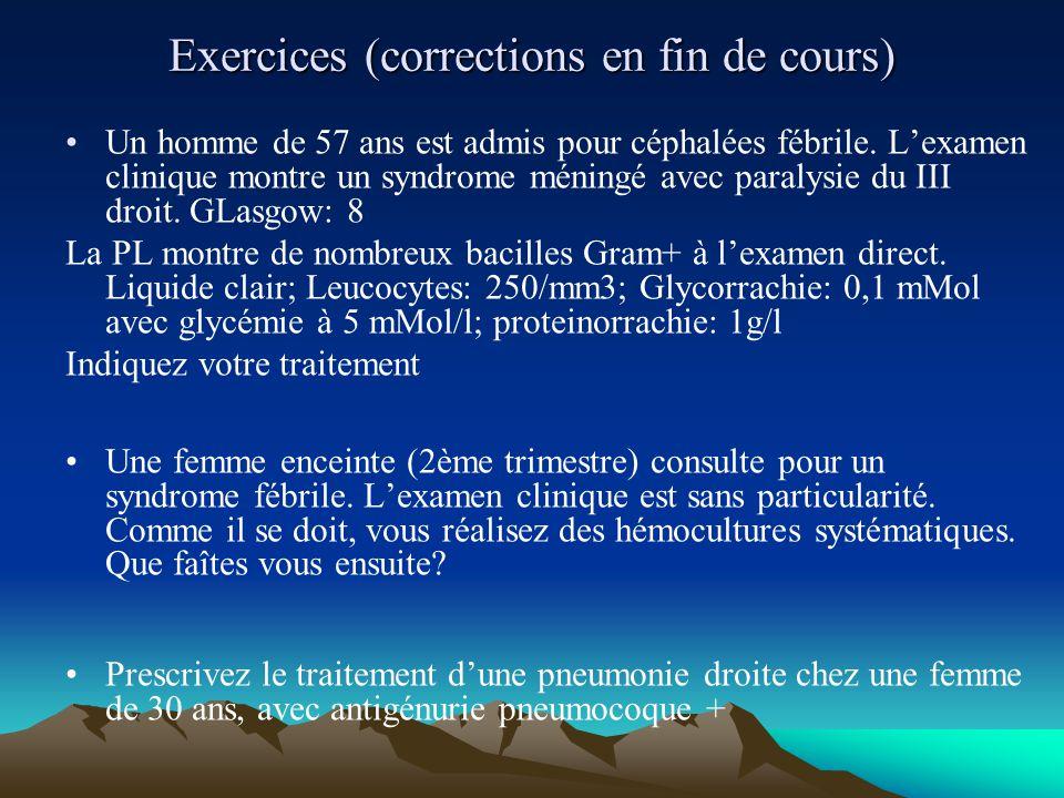 Exercices (corrections en fin de cours) Un homme de 57 ans est admis pour céphalées fébrile. L'examen clinique montre un syndrome méningé avec paralys
