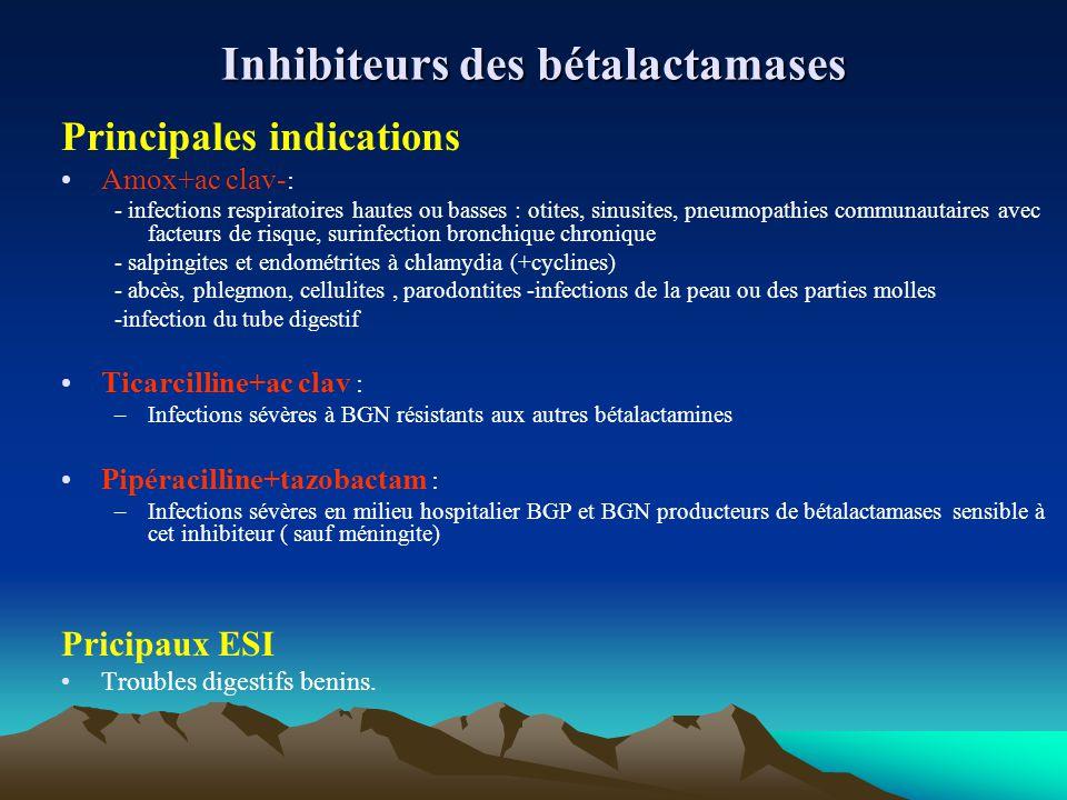 Inhibiteurs des bétalactamases Principales indications Amox+ac clav- : - infections respiratoires hautes ou basses : otites, sinusites, pneumopathies
