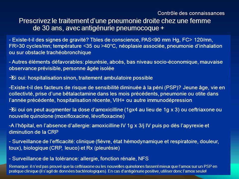 Contrôle des connaissances Prescrivez le traitement d'une pneumonie droite chez une femme de 30 ans, avec antigénurie pneumocoque + - Existe-t-il des
