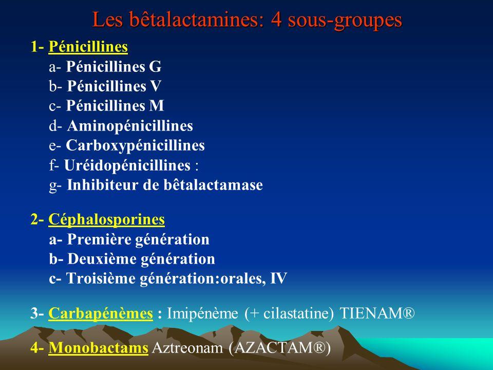 1- Pénicillines a- Pénicillines G : Pénicilline G*, SPECILLINE*, Benzathine-pénicilline : EXTENCILLINE* b- Pénicillines V : ORACILLINE* c- Pénicillines M : Oxacilline (BRISTOPEN*), Cloxacilline (ORBENINE*) d- Aminopénicillines : Amoxicilline : CLAMOXYL* e- Carboxypénicillines : Ticarcilline TICARPEN® Ticarcilline + acide clavulanique CLAVENTIN® f- Uréidopénicillines : Pipéracilline PIPERILLINE® Pipéracilline + tazobactam TAZOCILLINE® g- Inhibiteur de bêtalactamase : acide clavulanique, tazobactam, sulbactam 2- Céphalosporines a- Première génération : Céfadroxil (Oracéfal®), Céfalexine (Céporexine®, Kéforal®) Céfaclor (Alfatil®), Céfazoline (Céfacidal®, Kefzol®), Céfalotine (Kéflin®) b- Deuxième génération Céfuroxime (Zinnat®), Céfamandole (Kéfandol®), Céfuroxime axetil (Zinnat®) c- Troisième génération -orales Céfixime (Oroken®), Céfpodoxime proxétil (Orélox®), Céfotiam hexétil (Taketiam®, Texodil®) - IV: Céfotaxime (Claforan®), Ceftriaxone (Rocéphine®), Céftazidime (Fortum®), Céfépime (Axépim®) 3- Carbapénèmes : Imipénème (+ cilastatine) TIENAM® 4- Monobactams Aztreonam (AZACTAM®)