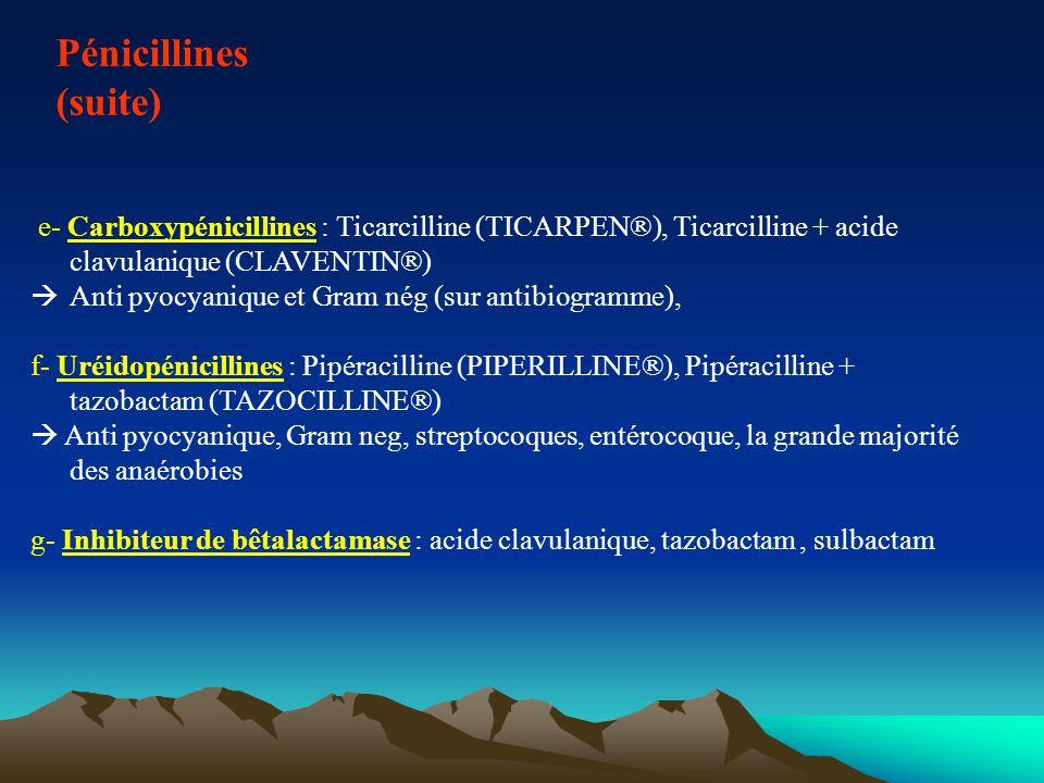 Les pénicillines V et G Spectre utile Certains cocci à G+ : streptocoque (dont pneumocoque) Bacilles G+ : listeria, Corynebacterium diphteriae (bacille diphtérique), BG+ anaérobies stricts (clostridium, actinomyces) Spirochètes : tréponèmes, leptospire Les résistances du pneumocoque sont de plus en plus fréquente (20% des souches en France), ainsi que celles du gonocoque.