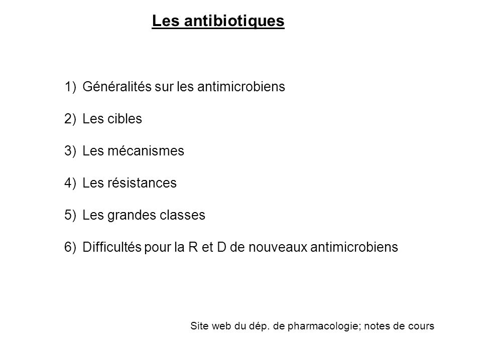 Les antibiotiques 1)Généralités sur les antimicrobiens 2)Les cibles 3)Les mécanismes 4)Les résistances 5)Les grandes classes 6)Difficultés pour la R e