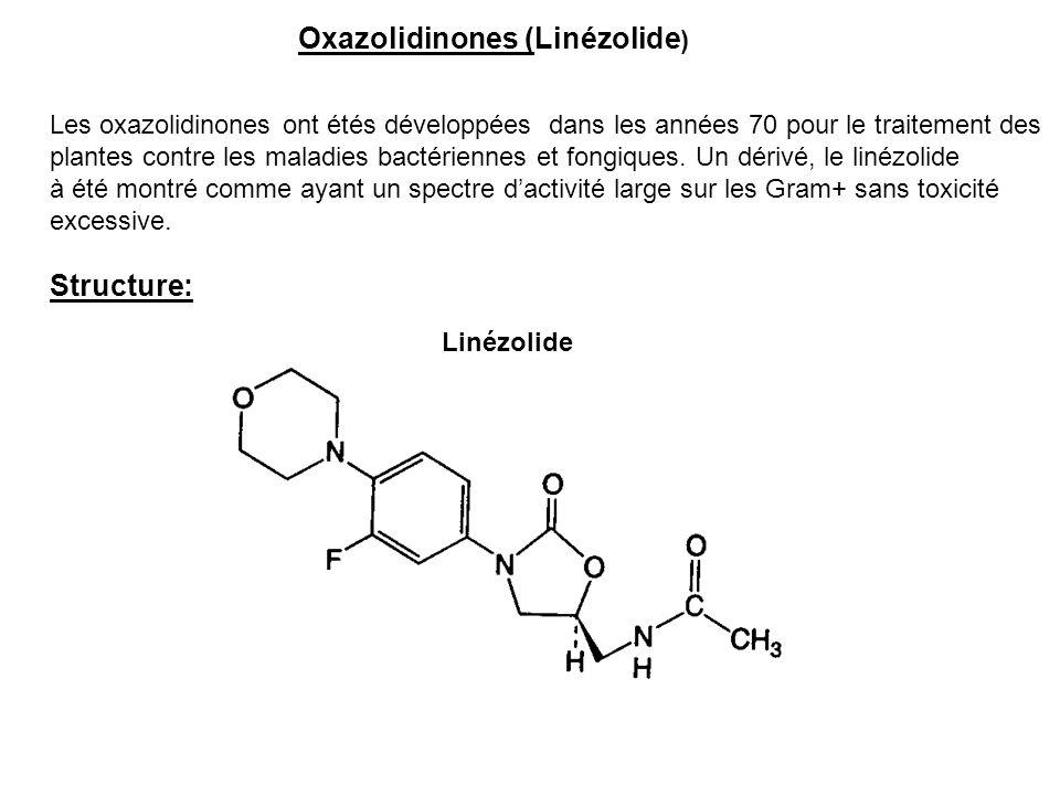 Oxazolidinones (Linézolide ) Les oxazolidinones ont étés développées dans les années 70 pour le traitement des plantes contre les maladies bactérienne