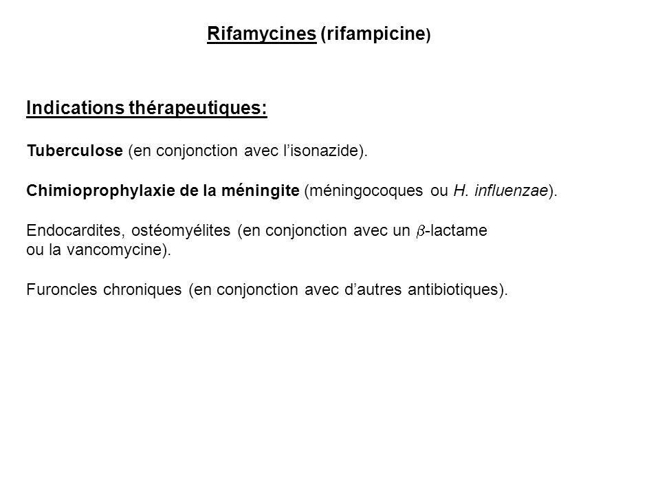Rifamycines (rifampicine ) Indications thérapeutiques: Tuberculose (en conjonction avec l'isonazide). Chimioprophylaxie de la méningite (méningocoques