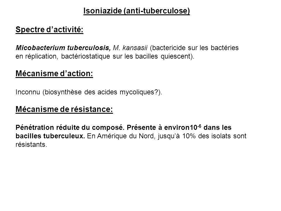 Isoniazide (anti-tuberculose) Spectre d'activité: Micobacterium tuberculosis, M. kansasii (bactericide sur les bactéries en réplication, bactériostati