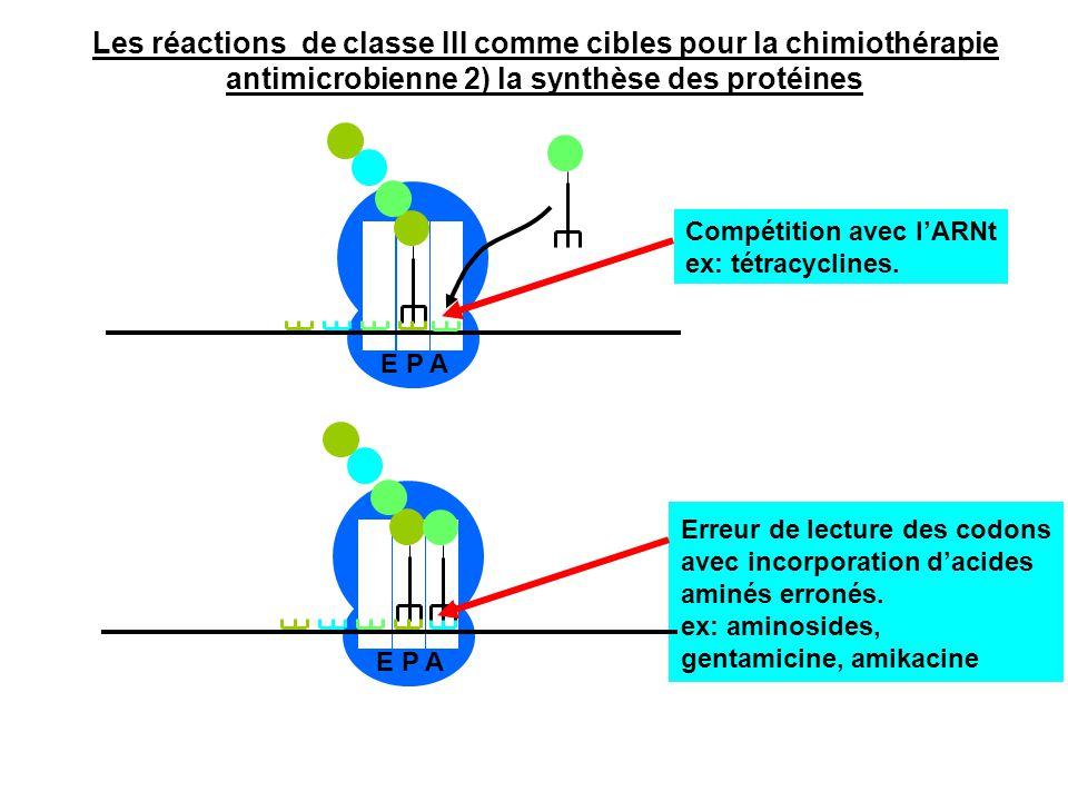 E P A Compétition avec l'ARNt ex: tétracyclines. E P A Erreur de lecture des codons avec incorporation d'acides aminés erronés. ex: aminosides, gentam