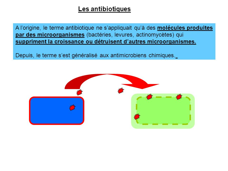 Les antibiotiques A l'origine, le terme antibiotique ne s'appliquait qu'à des molécules produites par des microorganismes (bactéries, levures, actinom
