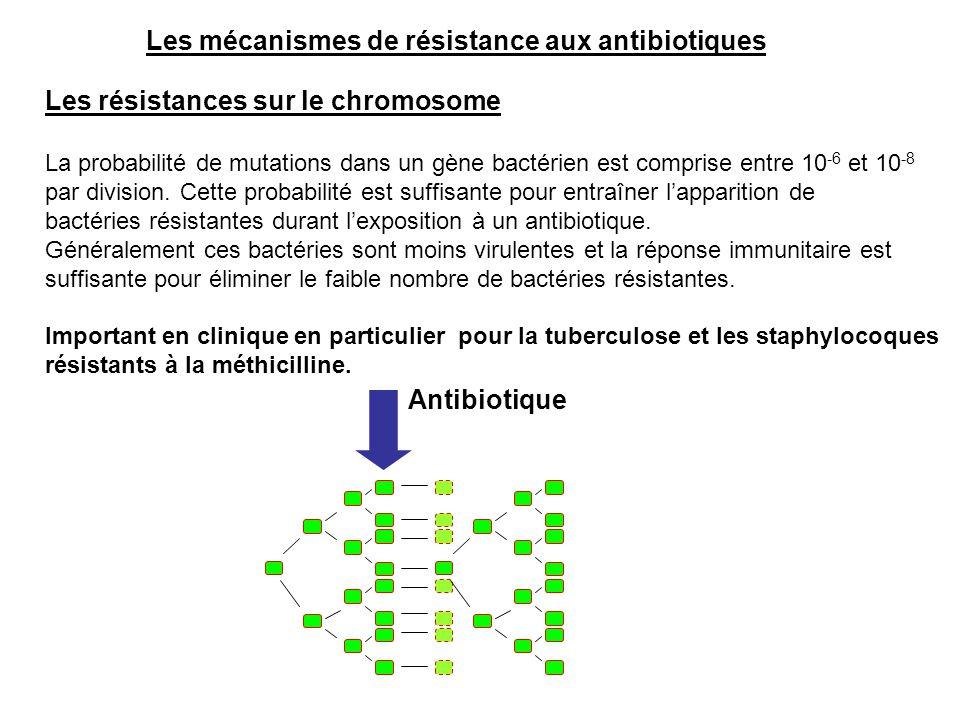 Les mécanismes de résistance aux antibiotiques Les résistances sur le chromosome La probabilité de mutations dans un gène bactérien est comprise entre
