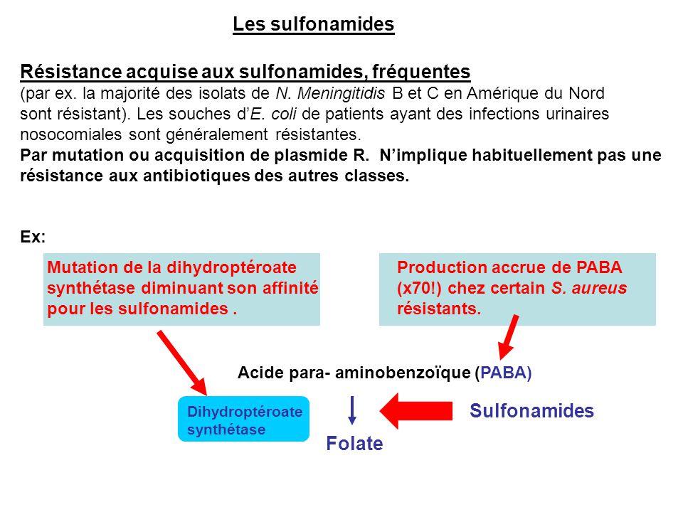 Les sulfonamides Résistance acquise aux sulfonamides, fréquentes (par ex. la majorité des isolats de N. Meningitidis B et C en Amérique du Nord sont r
