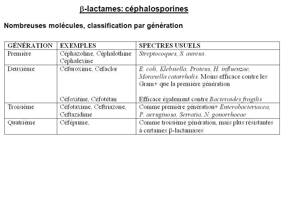 Nombreuses molécules, classification par génération