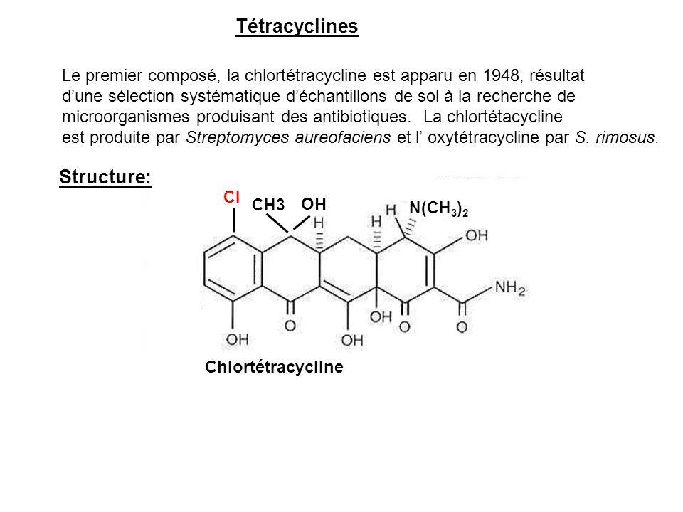 Le premier composé, la chlortétracycline est apparu en 1948, résultat d'une sélection systématique d'échantillons de sol à la recherche de microorgani