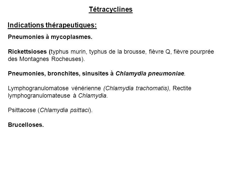 Indications thérapeutiques: Tétracyclines Pneumonies à mycoplasmes. Rickettsioses (typhus murin, typhus de la brousse, fièvre Q, fièvre pourprée des M