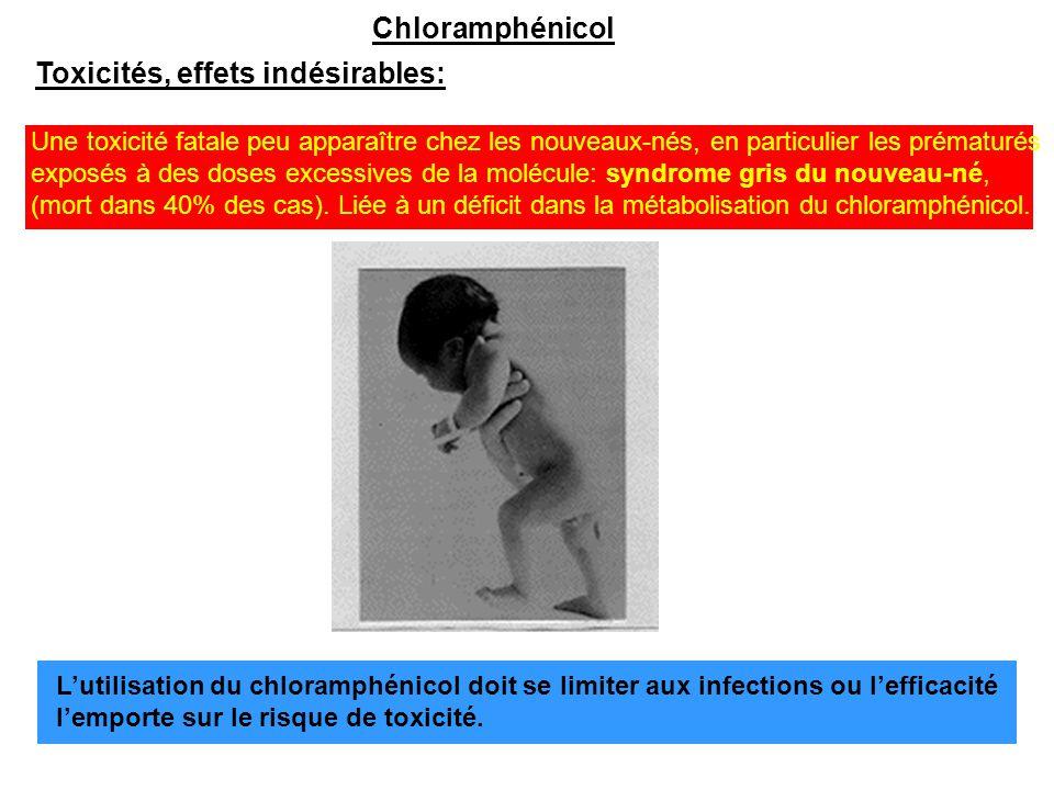 Chloramphénicol Toxicités, effets indésirables: Une toxicité fatale peu apparaître chez les nouveaux-nés, en particulier les prématurés exposés à des