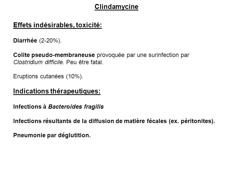 Clindamycine Effets indésirables, toxicité: Diarrhée (2-20%). Colite pseudo-membraneuse provoquée par une surinfection par Clostridium difficile. Peu
