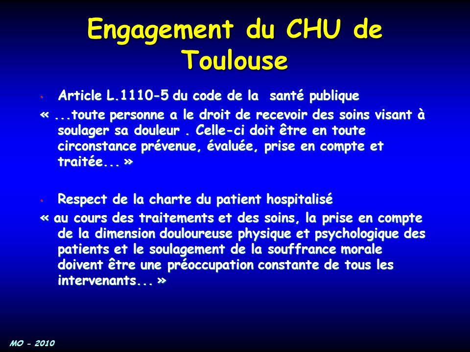 MO - 2010 Engagement du CHU de Toulouse Article L.1110-5 du code de la santé publique Article L.1110-5 du code de la santé publique «...toute personne