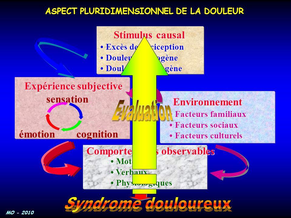 MO - 2010 Stimulus causal Excès de nociception Excès de nociception Douleur neurogène Douleur neurogène Douleur psychogène Douleur psychogène Expérien