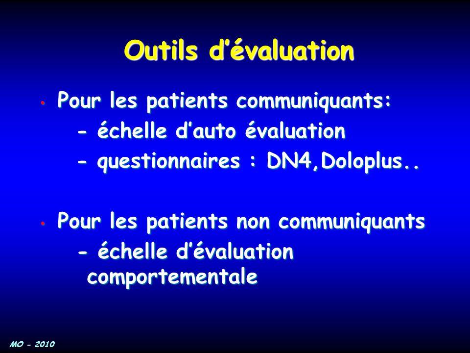 MO - 2010 Pour les patients communiquants: Pour les patients communiquants: - échelle d'auto évaluation - échelle d'auto évaluation - questionnaires :
