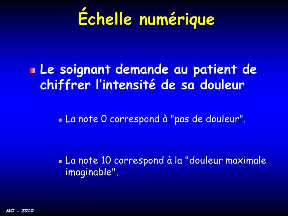 MO - 2010 Échelle numérique Le soignant demande au patient de chiffrer l'intensité de sa douleur La note 0 correspond à