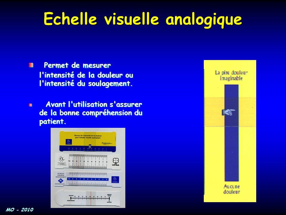 MO - 2010 Echelle visuelle analogique Permet de mesurer l'intensité de la douleur ou l'intensité du soulagement. Permet de mesurer l'intensité de la d