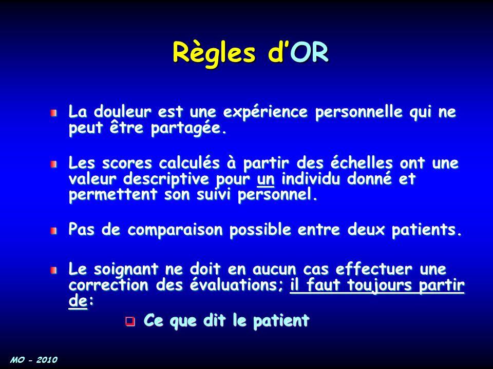 MO - 2010 Règles d'OR La douleur est une expérience personnelle qui ne peut être partagée. La douleur est une expérience personnelle qui ne peut être