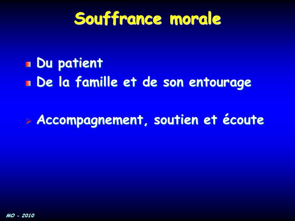 MO - 2010 Souffrance morale Du patient De la famille et de son entourage  Accompagnement, soutien et écoute