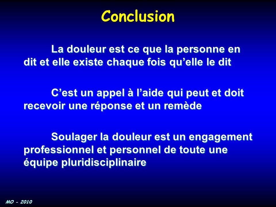 MO - 2010 Conclusion La douleur est ce que la personne en dit et elle existe chaque fois qu'elle le dit C'est un appel à l'aide qui peut et doit recev