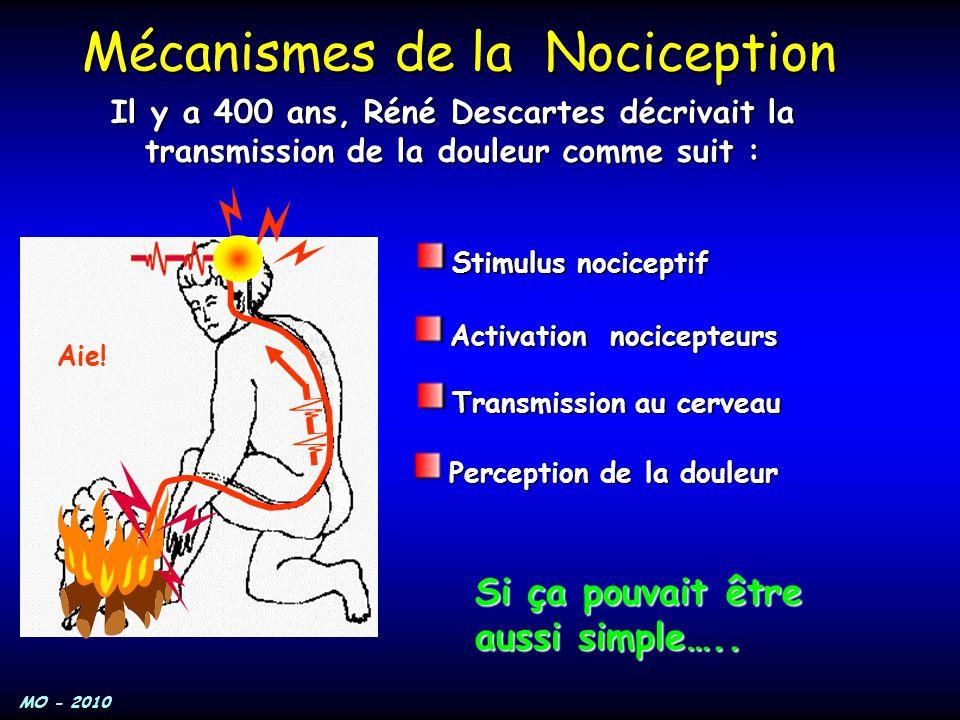 MO - 2010 Il y a 400 ans, Réné Descartes décrivait la transmission de la douleur comme suit : Mécanismes de la Nociception Stimulus nociceptif Activat