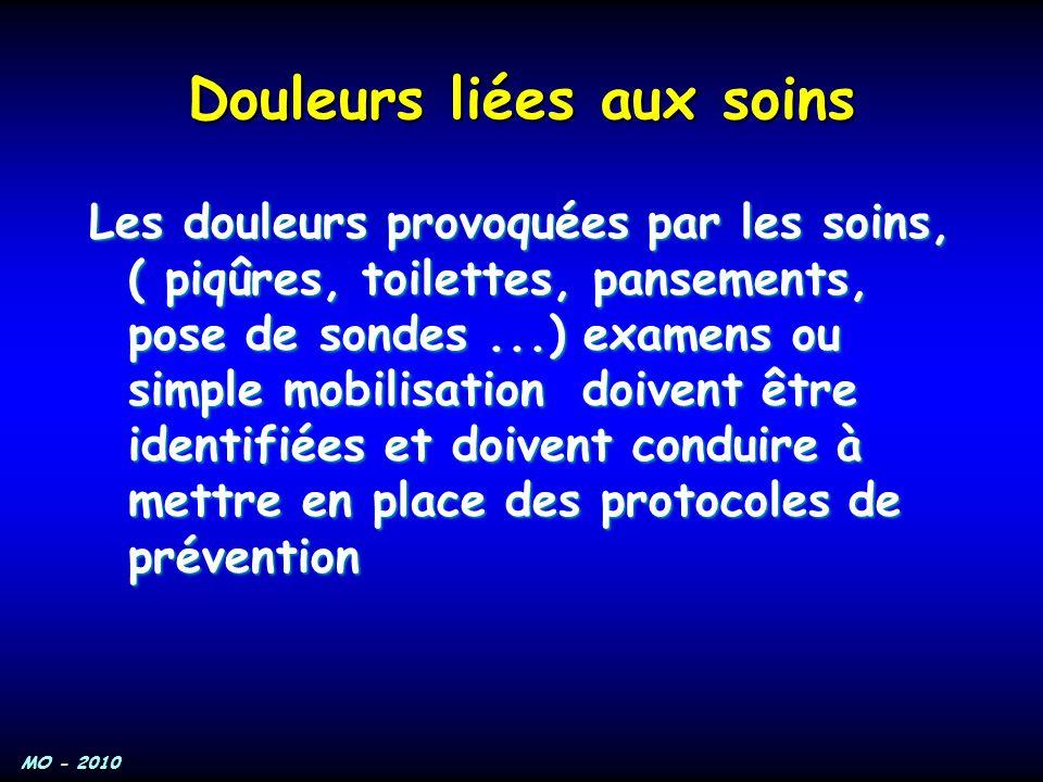 MO - 2010 Douleurs liées aux soins Les douleurs provoquées par les soins, ( piqûres, toilettes, pansements, pose de sondes...) examens ou simple mobil