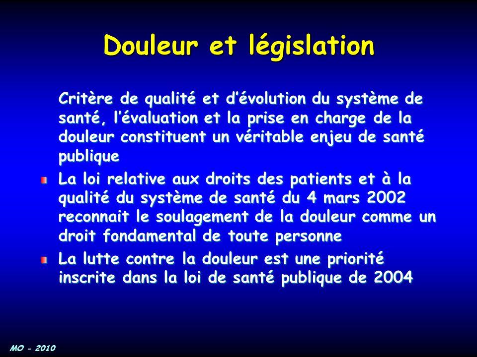 MO - 2010 Douleur et législation Critère de qualité et d'évolution du système de santé, l'évaluation et la prise en charge de la douleur constituent u