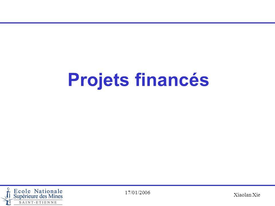 Xiaolan Xie 17/01/2006 Projets financés