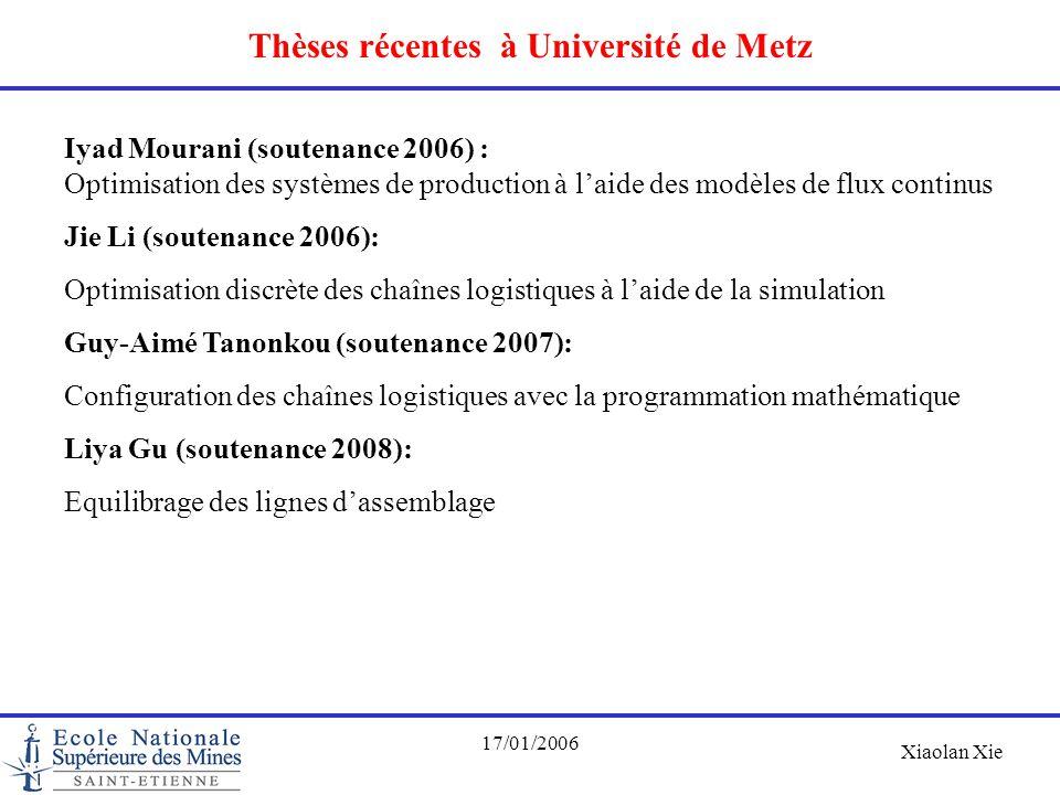 Xiaolan Xie 17/01/2006 Thèses récentes à Université de Metz Iyad Mourani (soutenance 2006) : Optimisation des systèmes de production à l'aide des modè