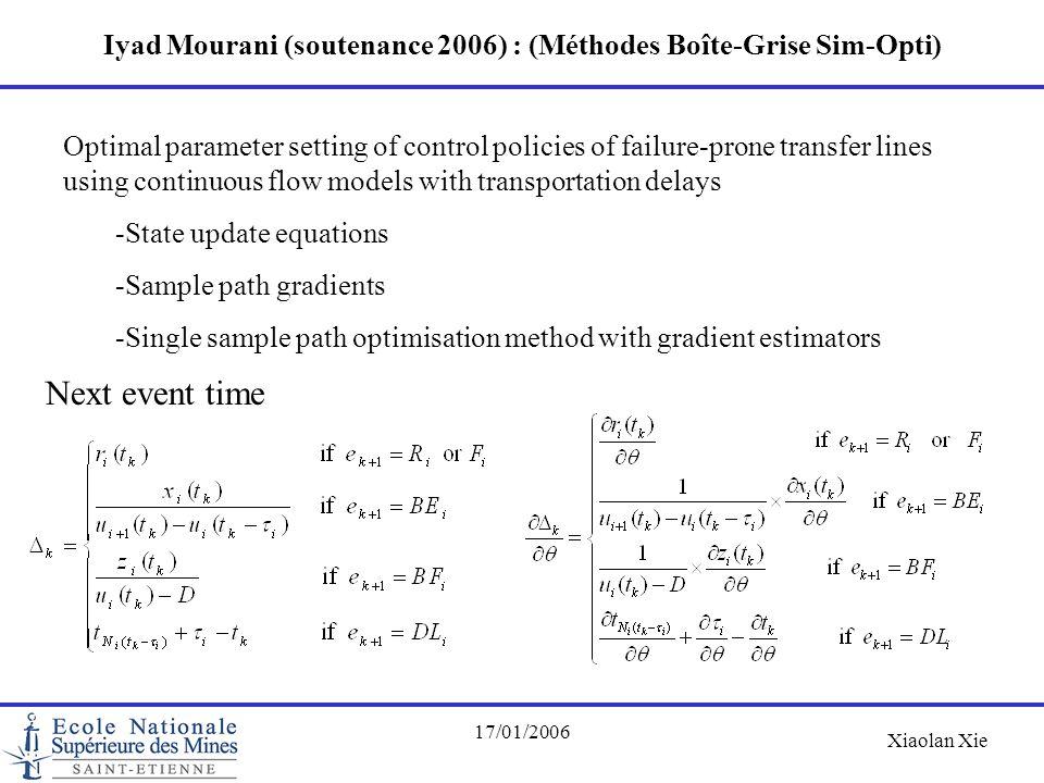 Xiaolan Xie 17/01/2006 Iyad Mourani (soutenance 2006) : (Méthodes Boîte-Grise Sim-Opti) Optimal parameter setting of control policies of failure-prone
