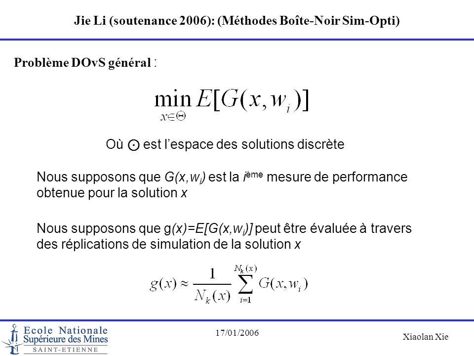 Xiaolan Xie 17/01/2006 Jie Li (soutenance 2006): (Méthodes Boîte-Noir Sim-Opti) Problème DOvS général : Où ⊙ est l'espace des solutions discrète Nous