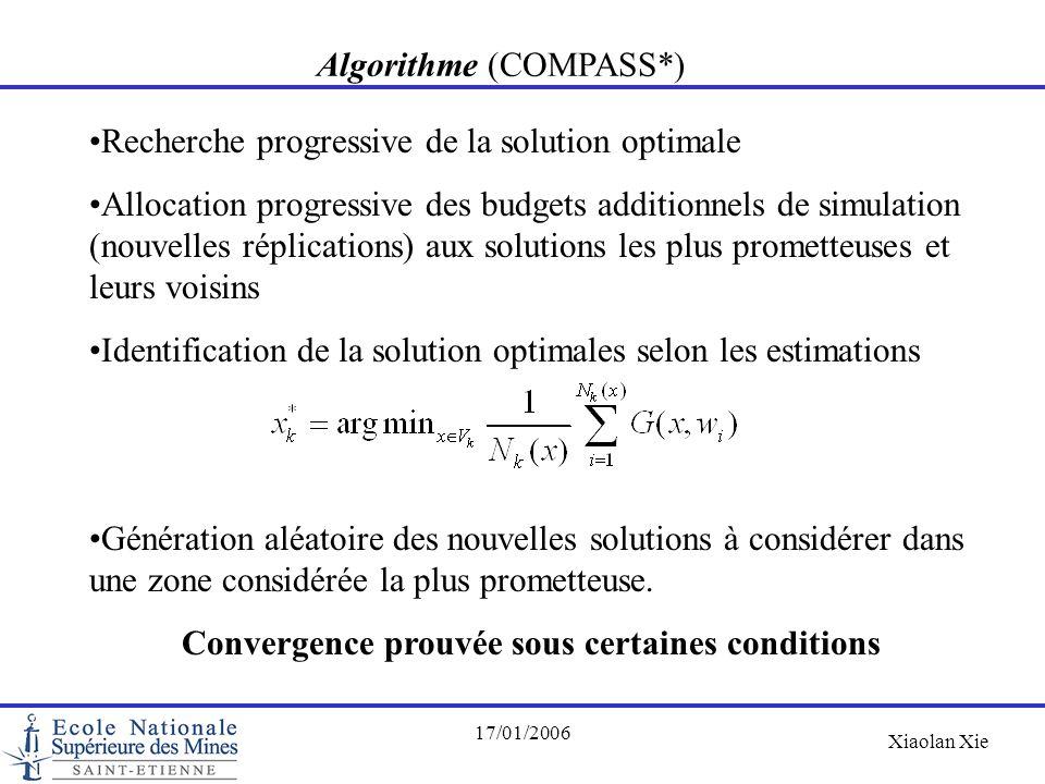 Xiaolan Xie 17/01/2006 Algorithme (COMPASS*) Recherche progressive de la solution optimale Allocation progressive des budgets additionnels de simulati